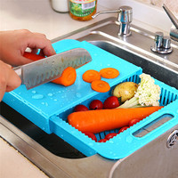 High Quality Kitchen Chopping Block Sinks Drain Basket Meat Vegetable Fruit Antibacterial Non-slip Cutting Board With Storage