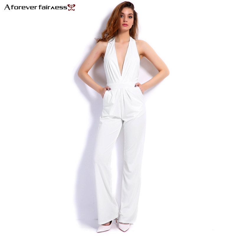 A Forever 2017 New Fashion Women Jumpsuit Sleeveless Hollow Out Backless Elegant Sexy Jumpsuit Slim Regular
