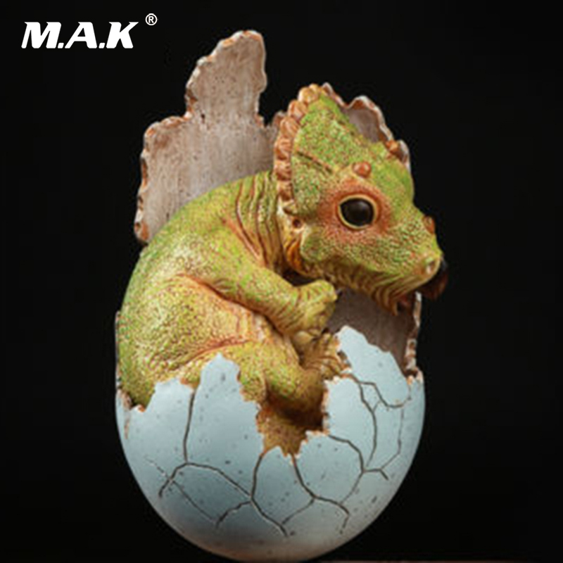 For collection Baby Hatching Egg EDAGE Resin Model Toys Green Jurassic Triceratops Dinosaur creative dinosaur egg interactive cute fantastic hatching egg with plush animal novelty gag toys growing dinosaur eggs