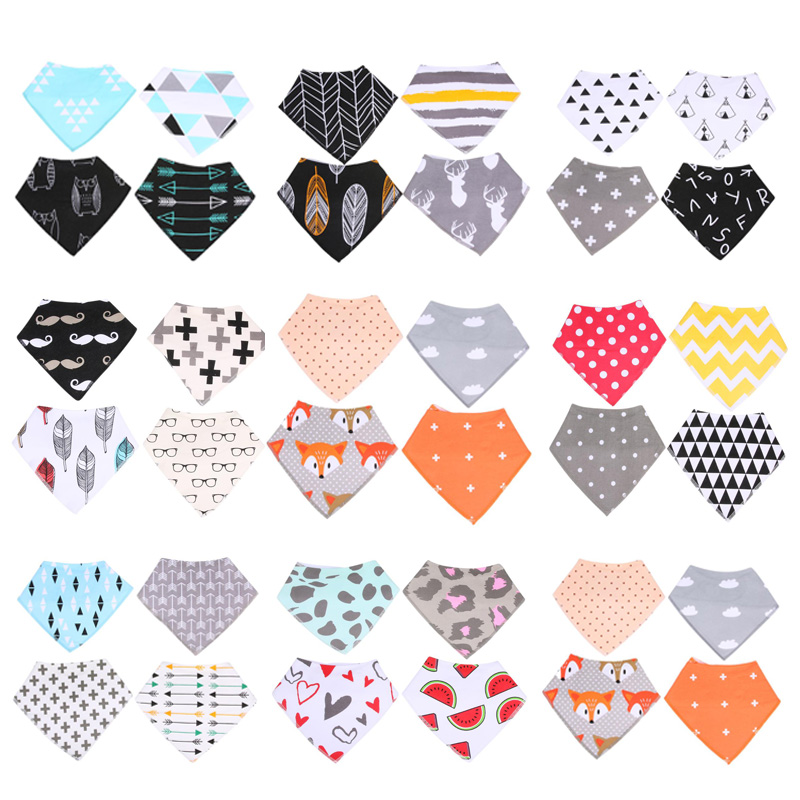 4pcs/lot Baby Neckerchief Baby Bibs Bandana Drool Triangle Bibs for Drooling and Teething Arrow WaveTriangle Cotton Accessories