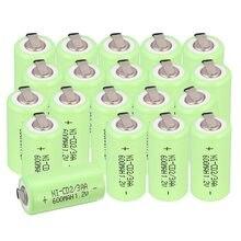Lot de 24 Batteries rechargeables NICD 1.2V 600mAh, 2/3AA, avec contact