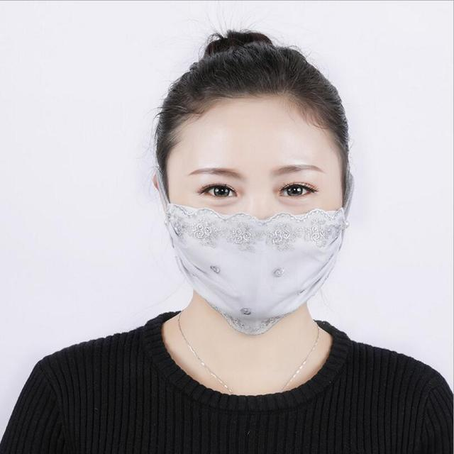 Summer Spring Lace Breathable face mask sun protective Shade anti-dust mouth mask Chiffon Mouth-muffle Mask Flu Face masks 2