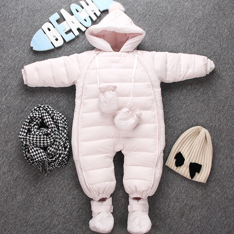 2016 Winter Thickness Cotton Hooded Footcover Gloves Newborn Baby Jusmpsut Coat Infant Bebes Jacke Rompers Outwear