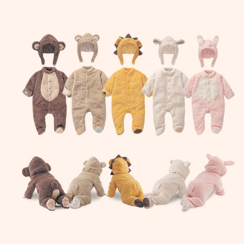 Cartoon Baby Infant Monkey Romper Kids Suit Animal Cosplay Shapes Costume Child Warm Autumn Winter Clothing