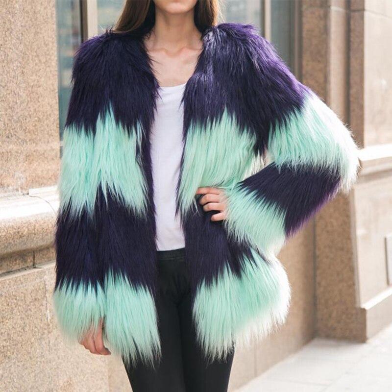 2019 Baru Kedatangan Fashion wanita Warna Bertahap Mantel Bulu Musim - Pakaian Wanita - Foto 3