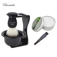 5 in 1 Shaving Set Brush Stand shaving Brush with non slip handle Bowl Mug shaving soap Travel Case Razor Handle clean brush