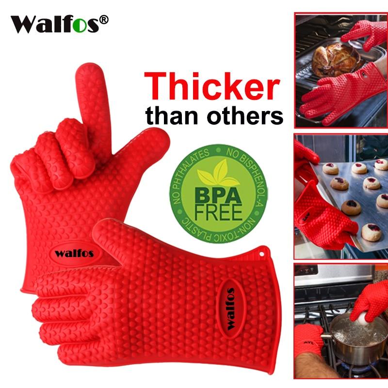 WALFOS 1 Stück Lebensmittelqualität Kochen Backen BBQ Handschuh Hitzebeständiges Silikon BBQ Grill Handschuh Grill Grillhandschuh BBQ Werkzeuge