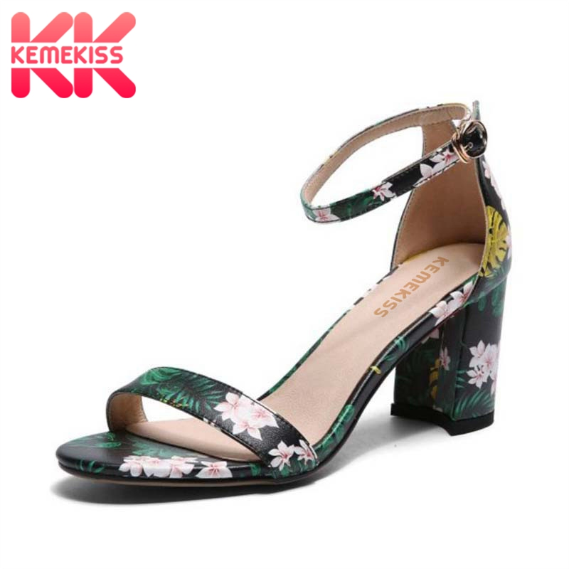 KemeKiss Size 33-43 Women High Heel Sandals Genuine Leather Ankle Strap Print Sandals Woman Vintage Party Club Footwear