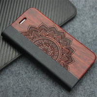 Business Style For Samsung Galaxy S7 Edge PU Leather Real Wood Bamboo Flip Case Card Slot
