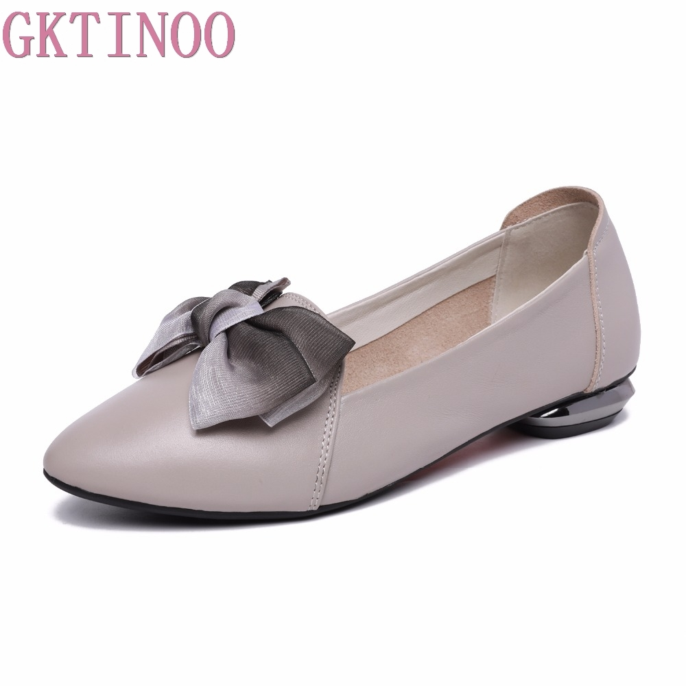 все цены на GKTINOO 2018 New Flats Woman Bow Tie Pointed toe Shallow Women Shoes Genuine Leather Comfortable Flat Shoes Large Size 34-43