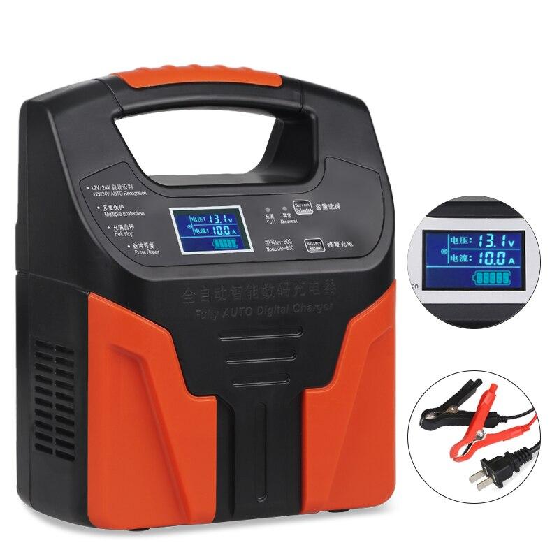 Chargeur de batterie Intelligent Intelligent 12 v 24 v voiture moto 110 V 220 V complètement automatique batterie au plomb charge réparation d'impulsion