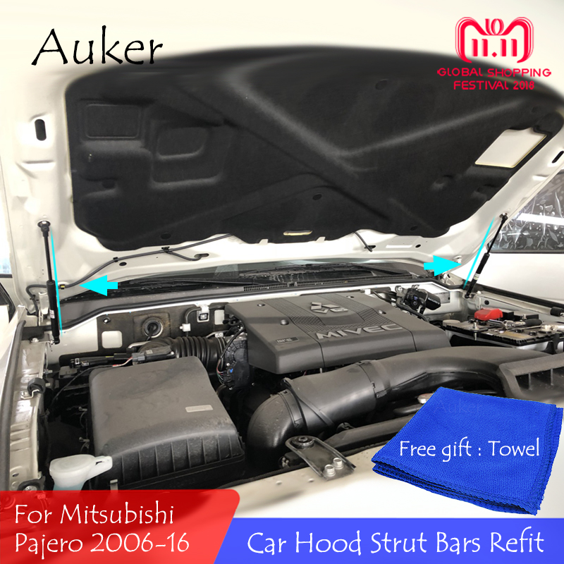 For 2006-2016 Mitsubishi Pajero Front Hood Engine Supporting Hydraulic rod Lift Strut Spring Shock Bars Bracket Car accessoriesFor 2006-2016 Mitsubishi Pajero Front Hood Engine Supporting Hydraulic rod Lift Strut Spring Shock Bars Bracket Car accessories