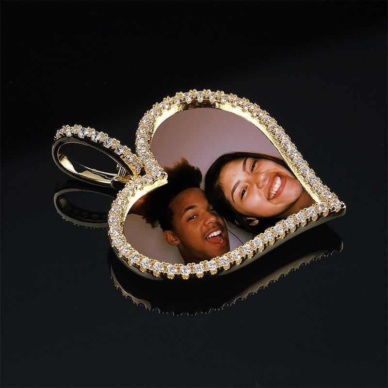 TOPGRILLZ Custom Made Photo Heart medaliony naszyjnik i wisiorek z 4mm łańcuszkiem tenisowym aaa sześcienne cyrkon męski hip hop biżuteria