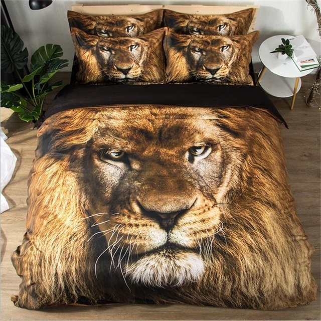 Lion King Animal Print Bedding Set Twin Queen Size Duvet Cover Bed