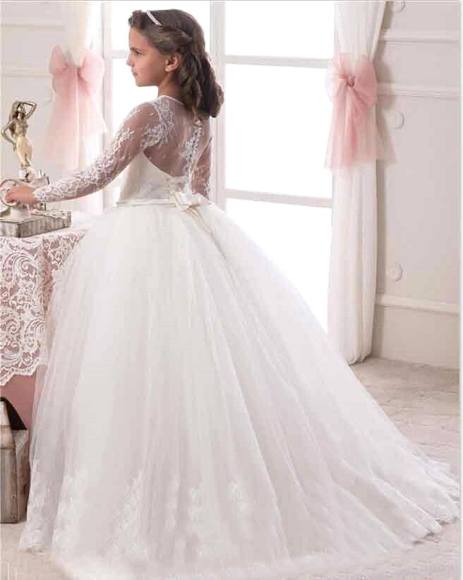 c3a596268 2019 Ivory White Ball Gown Long Sleeve Flowers Girls Dresses for Weddings Lace  First Communion Dress Pageant Dresses-in Flower Girl Dresses from Weddings  ...