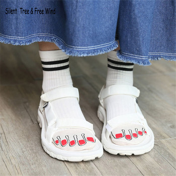 Funny Female Ladies Toe Nail With Ring Character Short Socks Japanese Women Cute Lace Cotton Ankle Sock With Five Toes hockey sock