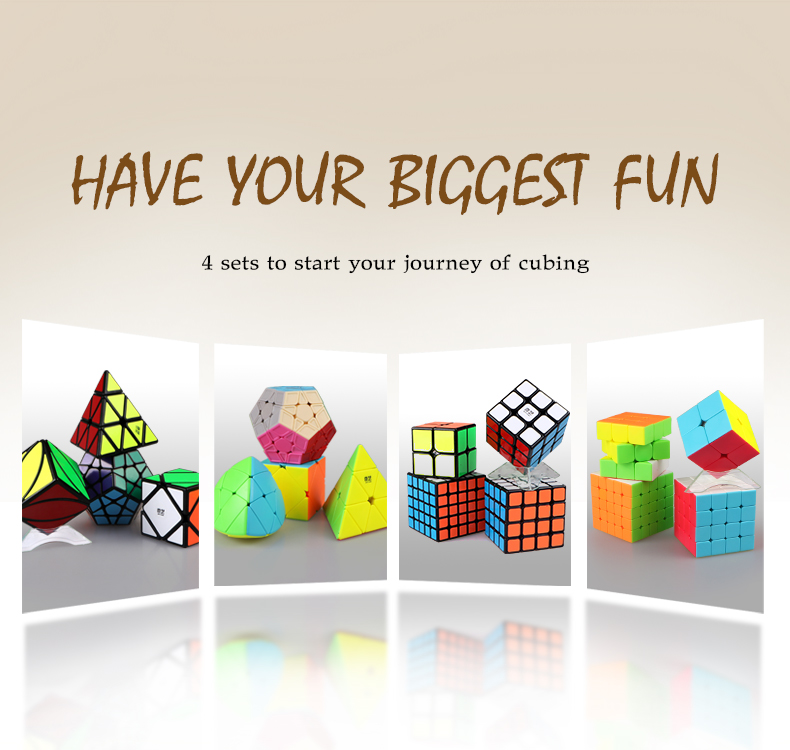 4 pcs/ensemble Qiyi Magic Cube Skewb + Pyraminx + Mastermorphix + Megaminx 2x2x2 3x3x3 4x4x4 5x5x5 D'origine Cube Puzzle Pour BeginnerChildren