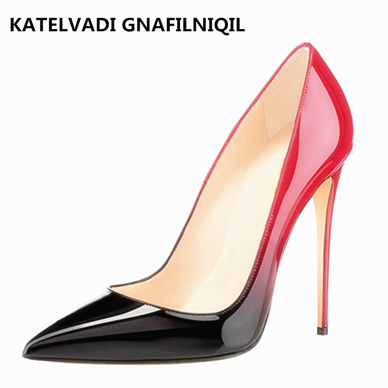 Brand Women Shoes High Heels Stilettos Black/Red High Heels Shoes Heels Patent Leather Pumps Sexy Ladies Shoes Womens FS-0025 luxury brand crystal patent leather sandals women high heels thick heel women shoes with heels wedding shoes ladies silver pumps