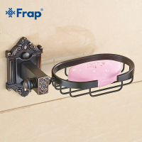 Frap New Soap Dishes Solid Brass Wall Mounted Soap Dish Holder For Bathroom Storage Bathroom Accessories Black Soap Box Y18020