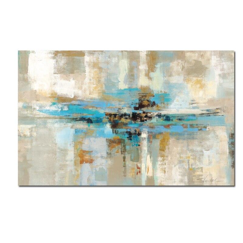 Duży rozmiar abstrakcyjne jasnoniebieski obraz olejny na płótnie plakat i druk skandynawskie nowoczesne sypialnia ścienne obraz do salonu w Malarstwo i kaligrafia od Dom i ogród na  Grupa 1