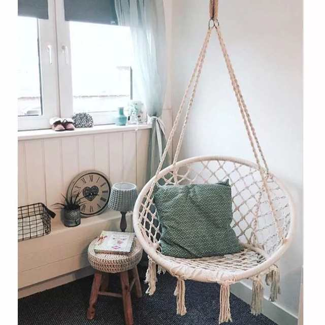 Rope Chair Swing Mens Valet Online Shop Handmade Knitted Outdoor Cotton Patio Garden Hammock Perfect For Indoor