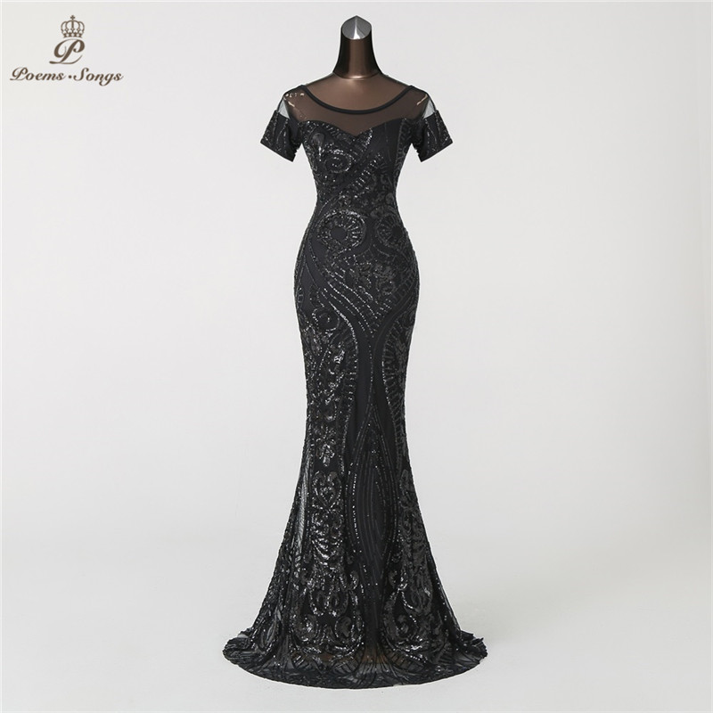 PoemsSongs Mermaid   Evening     Dress   prom gowns Formal Party   dress   vestido de festa Vintage Illusion Luxury Sequin robe longue