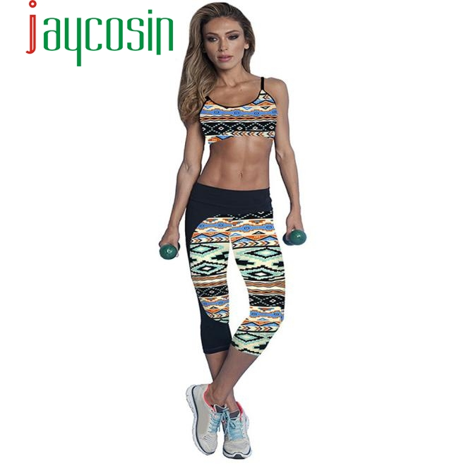 JAYCOSIN 2020 Fashion Cropped Trousers women's Fitness Sports Fitness Printing Color Elastic Slim Sports Fitness Pant A#