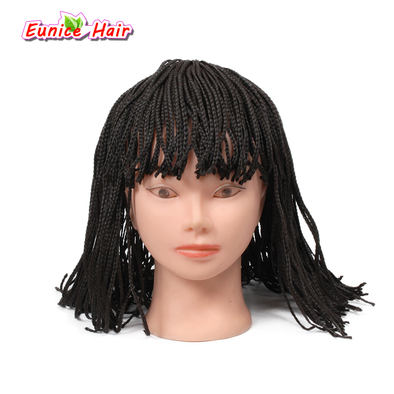 Black Short Box Braid Wigs For Black Women Synthetic Afro African American Braided -8725