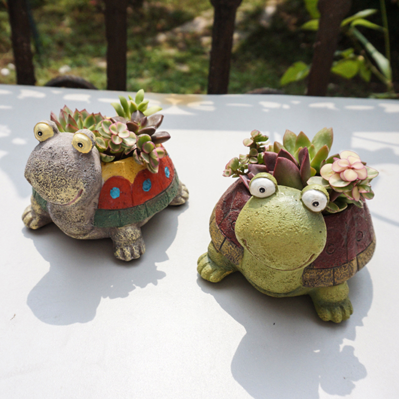 1pc Cute Cartoon Turtle Planter For Succulents Decorative