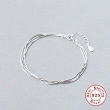925 bransoletki ze srebra wysokiej próby dla kobiet trzy warstwy wielowarstwowe bransoletki bransoletki minimalistyczny koreański styl Charm bransoletka biżuteria