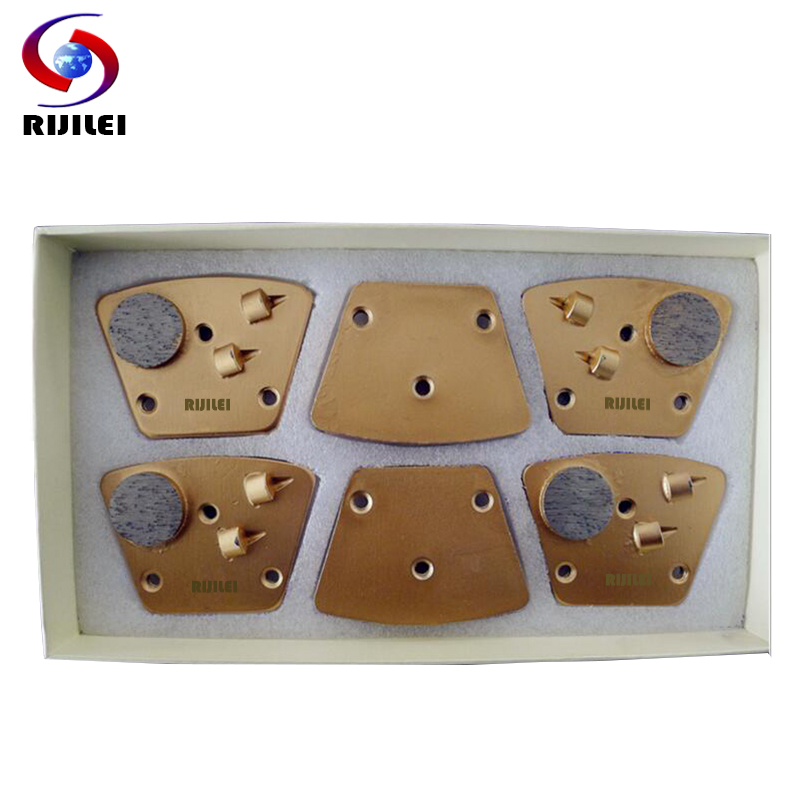RIJILEI 12PCS/Set PCD Diamond grinding disk Tipped Grinding Disc Plate for Removing Epoxy Glue Paint on Concrete Floor PCD3B
