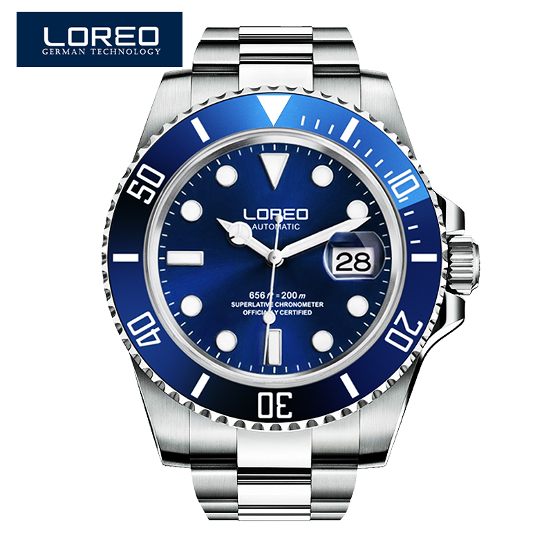 LOREO Germany watches men luxury brand automatic self-wind luminous waterproof 200M oyster perpetual Pro Diver Stainless Steel loreo 9203 germany diver 200m oyster perpetual air king automatic self wind luminous watches men luxury brand stainless steel