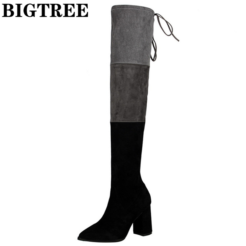 Winter Flock Brand Long Boots Sexy Over The Knee High Women Snow Boots Women's Fashion Square High Boots Shoes Woman DS929-6 only true love genuine leather shoes woman winter long boots square heels sexy women over the knee high boots