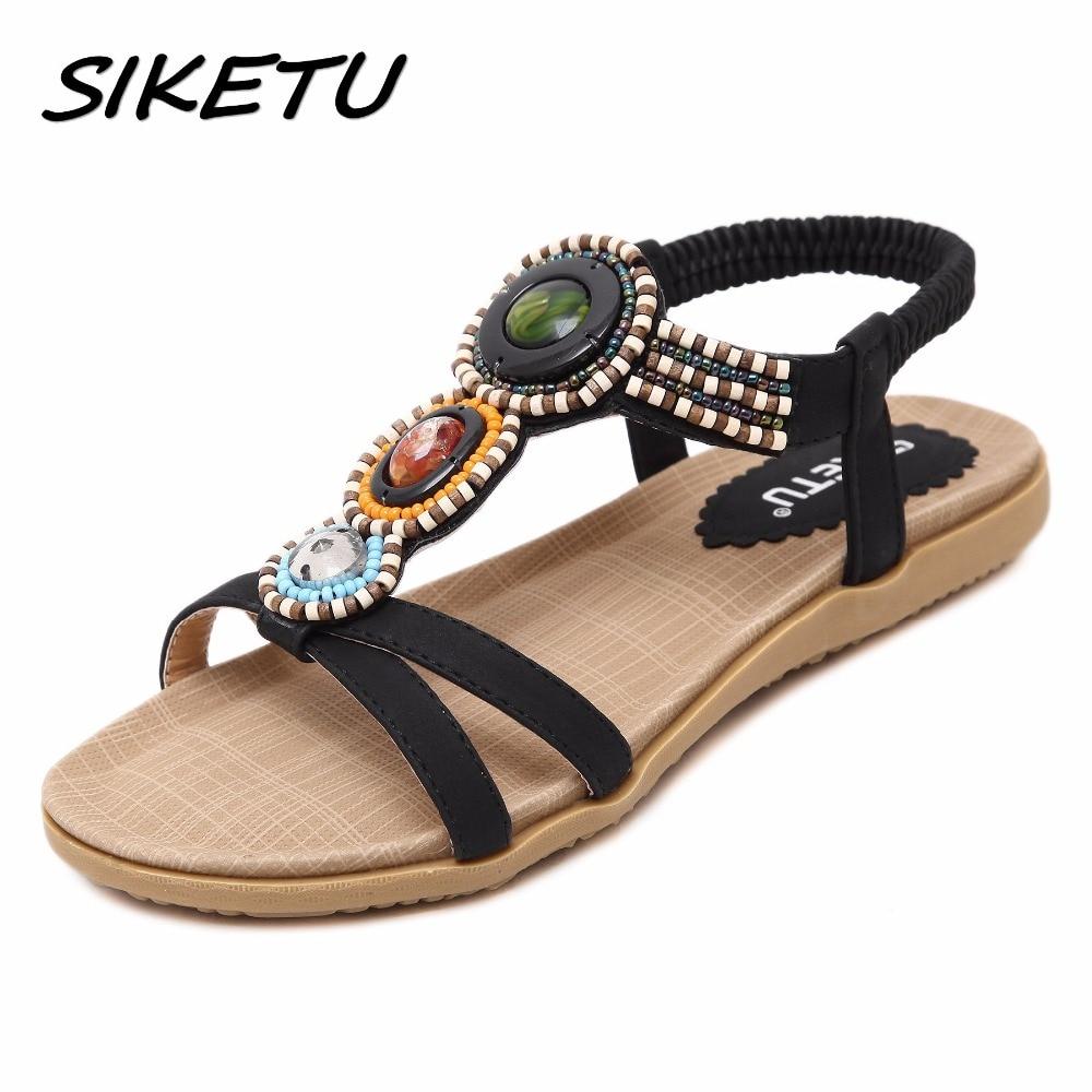 SIKETU sandalias planas de mujer zapatos mujer boho Bohemia sandalias de playa correa de cadena étnica sandalias de ámbar tamaño 35-42 albaricoque negro