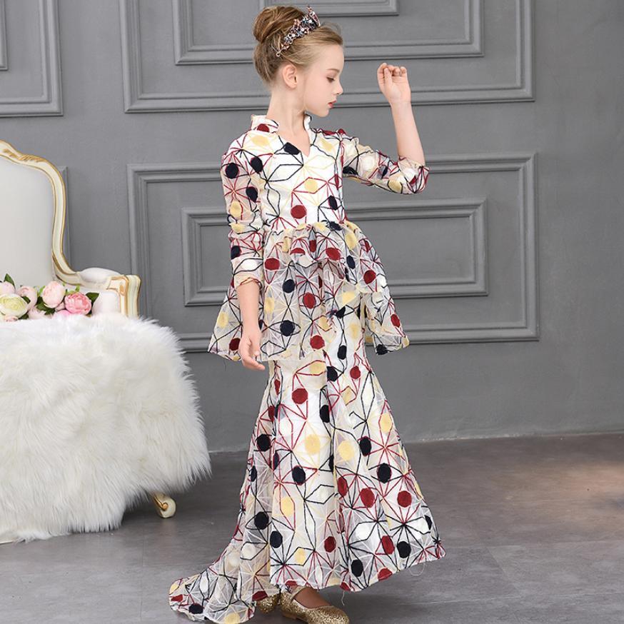 Enfants filles impression robe de sirène bébé mignon princesse robe de soirée modèle Cheongsam mode t-taiwan enfants hôte Costume Y576