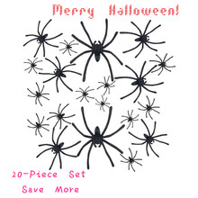 Lovely Pets Free shipping Halloween 20 PC Realistic Plastic Black Spider Joking Toys Decoration or Gift Jul28