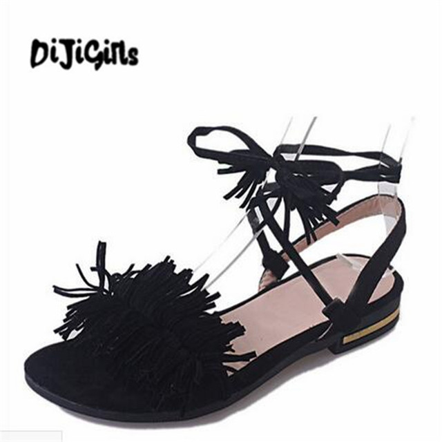 a5e3fe87ec4659 Shoes Woman Fashion Tassel Straps Flat Sandals For Women Flip-flops Women  Summer Beach Shoes Black Green Red 35-40