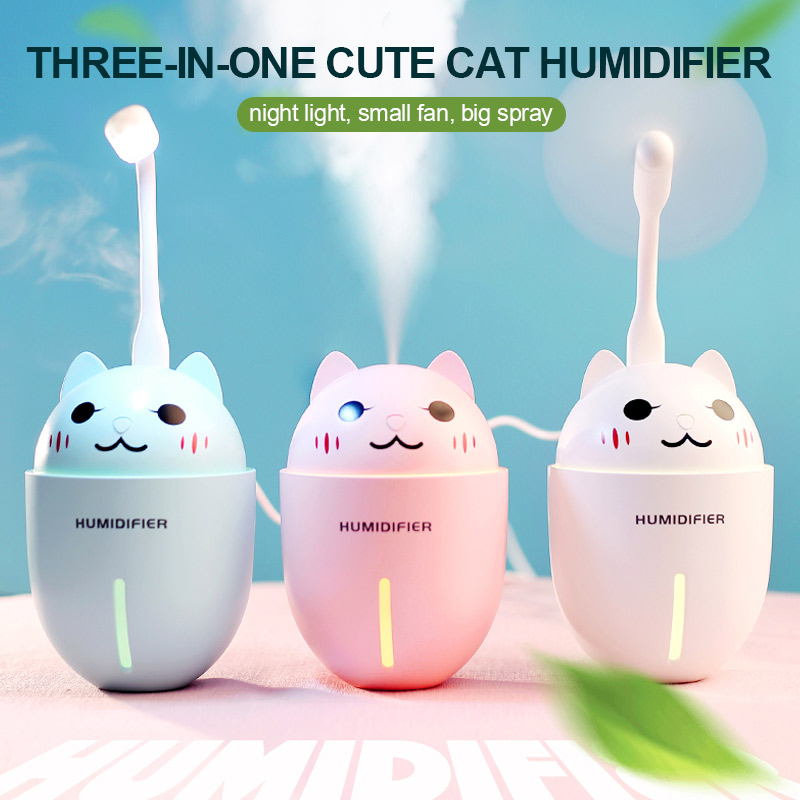 320ml 3 in 1 Ultrasonic Air Humidifier Aroma Diffuser Cat Shape Aroma Essential Oil Diffuser Fogger Mist Maker with Night Lights320ml 3 in 1 Ultrasonic Air Humidifier Aroma Diffuser Cat Shape Aroma Essential Oil Diffuser Fogger Mist Maker with Night Lights