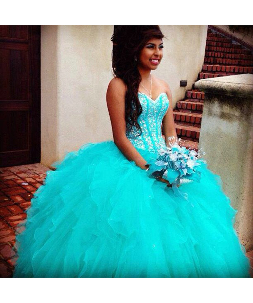 Aliexpress.com : Buy Turquoise Quinceanera Dresses Sparkly Sweet ...