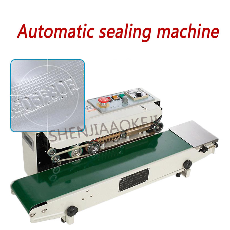 Continuous film sealing machine 80W plastic bag package machine band sealer horizontal heating sealing machine FR-770 fr 900l vertical heat sealer sealing machine automatic continuous plastic bag sealing machine steel wheel print