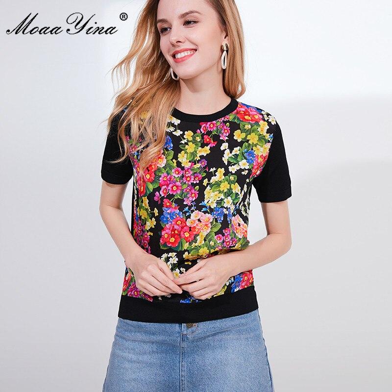 Image 2 - MoaaYina Designer Autumn Short Sleeve Black Knitting Tops Womens  Elegant Floral Print Silk Sweater Tees PulloversPullovers   -