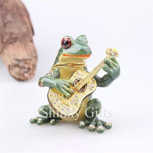 New Frog Trinket Box Beautiful Jeweled Pewter Frog Jewelry Boxin