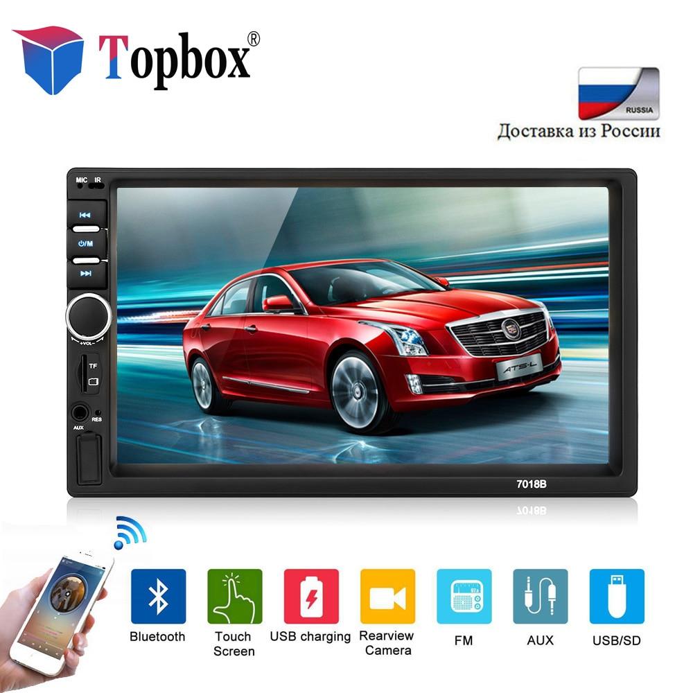 Topbox 2 din Автомобильный мультимедийный плеер 7 HD Сенсорный экран Bluetooth Авторадио MP3 MP5 видео плеер 7018B радио с заднего вида камера