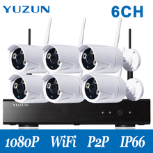1080P 6CH  HD Wireless cctv kit ourdoor security  Camera Surveillance kit wifi camera night vision nvr kit ir camera