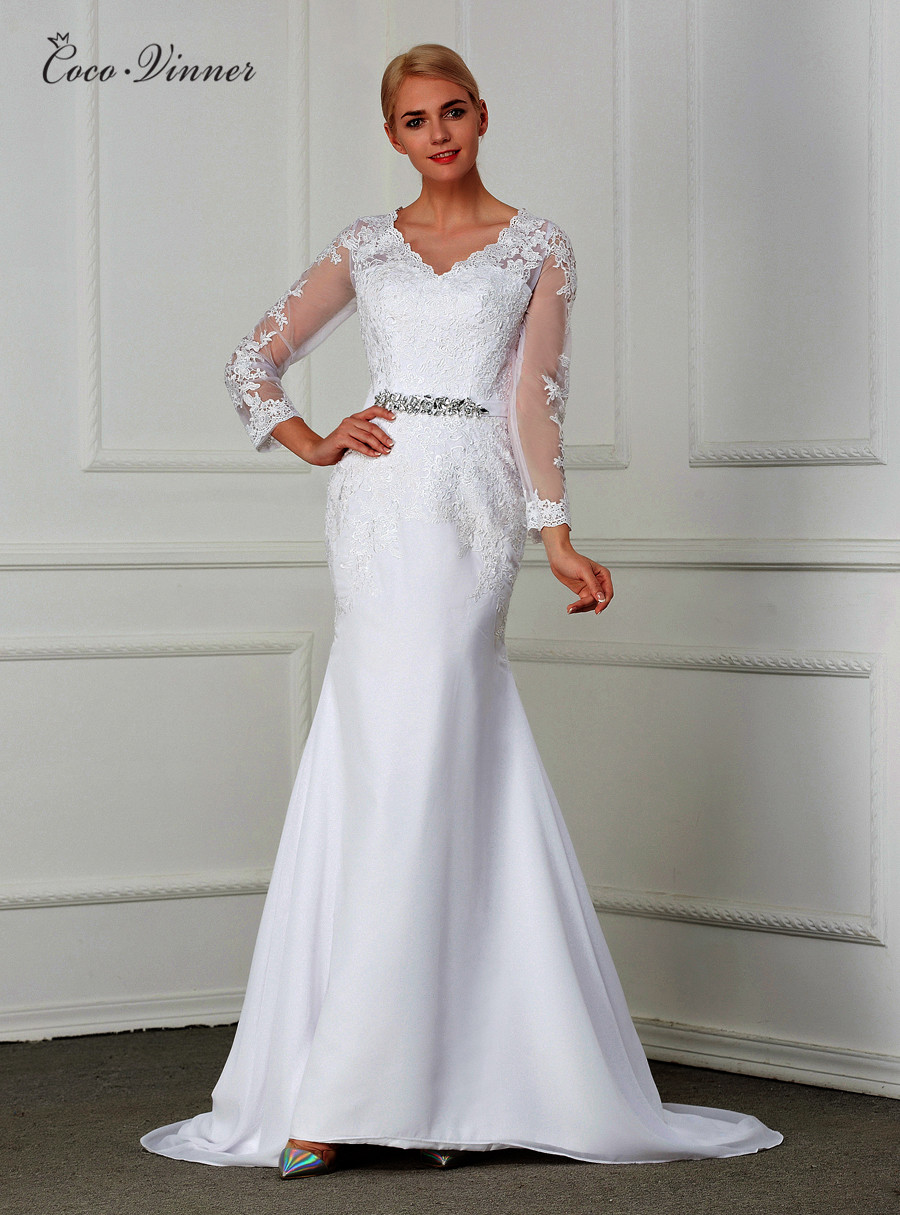 Long Sleeve Illusion Plus Size Mermaid Wedding Dress 2019 Crystal Sash Casamento Embroidery Court Train Wedding Gowns W0148