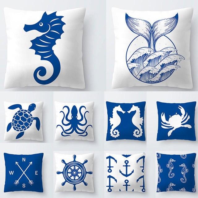 Cuscini decorativi Cavallo di Mare Tartaruga Cuscino Blu Bianco Fodere per Cusci