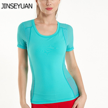 цена на JINSEYUAN Fitness mesh Seamless crop Yoga Top  Basic Scoop Breathable T Shirt 5 colors gym Sports top Sporty woman Activewear