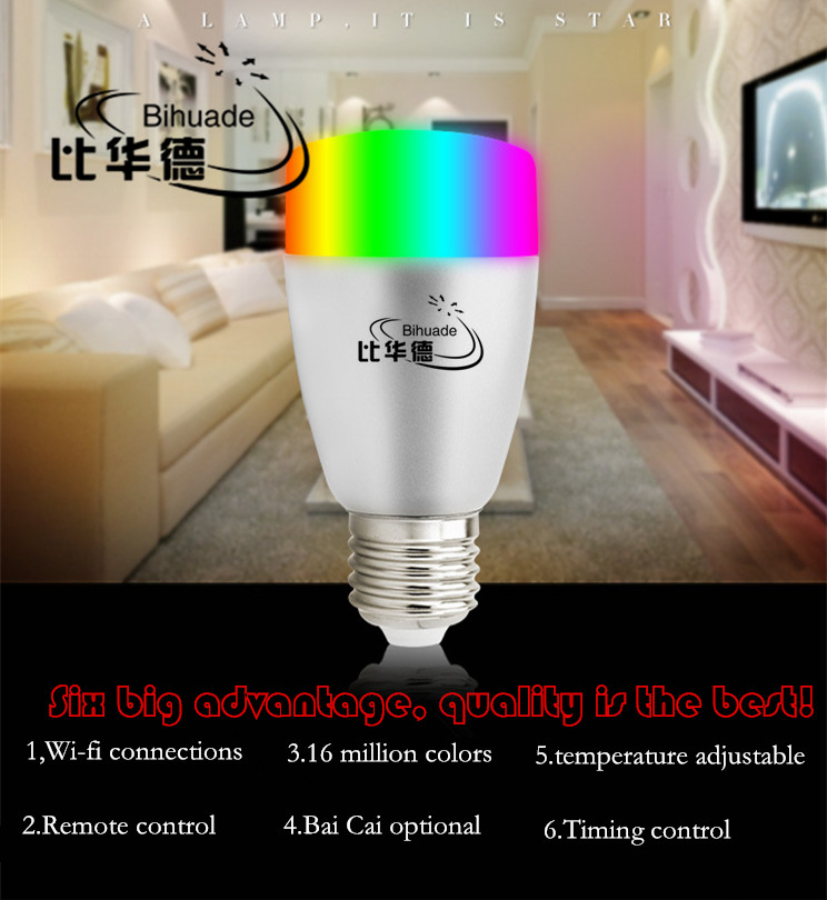 2.4G Wifi Android/IOS App Remote Control LED Globe Light Bulb E27 9W RGB & Warm
