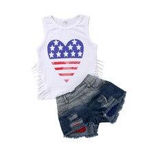 5469ba1cf6427 Mode nouveau enfant en bas âge enfants fille vêtements ensemble étoile rayé  gland gilet t-shirts hauts + Denim Shorts déchiré Je.