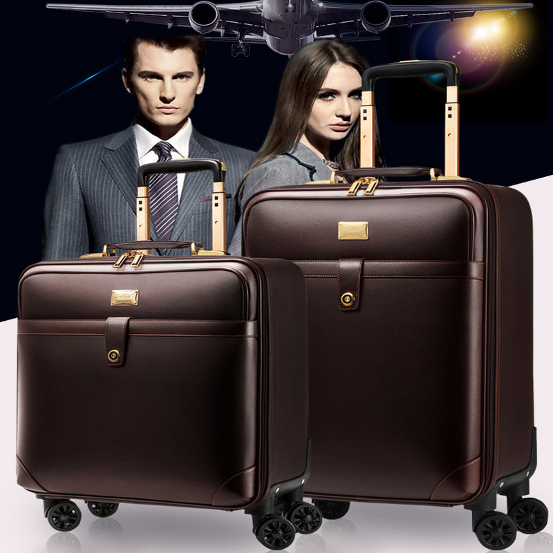 classic Leather PVC Waterproof Luxury Men woman Rolling Luggage Suitcase Designer 20Inches Rolling Luggage business Travel bags vintage suitcase 20 26 pu leather travel suitcase scratch resistant rolling luggage bags suitcase with tsa lock